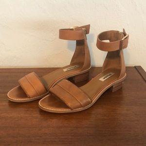 Tan ankle strap flats, 8